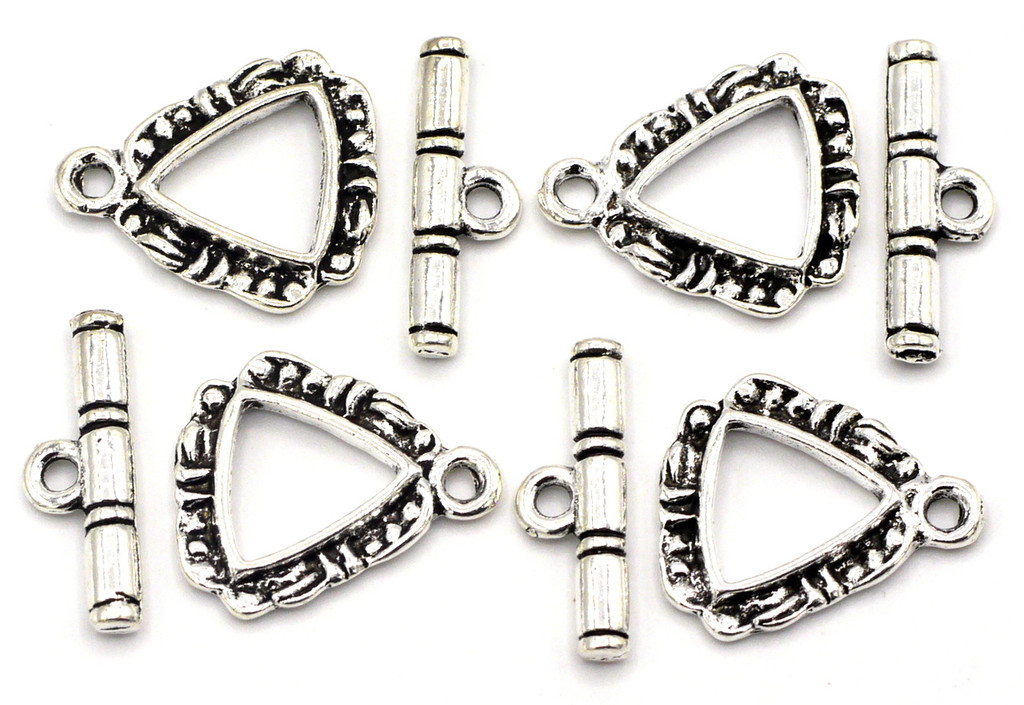 4 Sets 18mm Triangle Toggle Clasp, Antique Silver