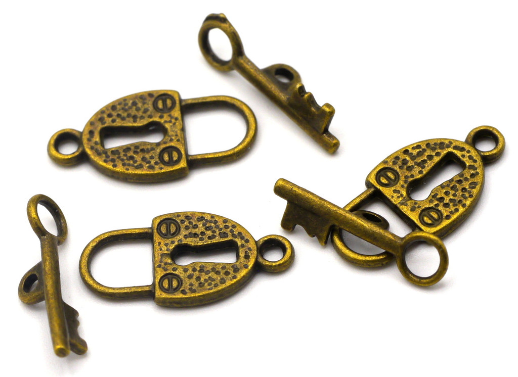 3 Sets 20x18mm Lock and Key Toggle Clasp, Antique Brass
