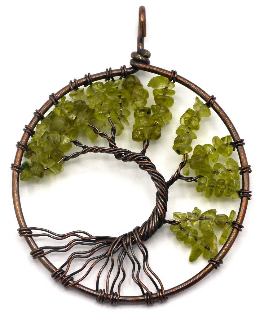 Approx 50x60mm Antique Copper Gemstone Tree of Life Pendant, Peridot