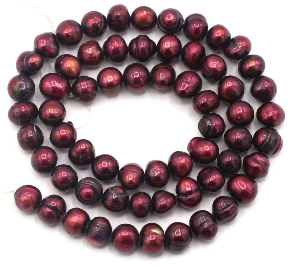 "SAVE 80%-- 15"" Strand Approx 6-8mm Freshwater Pearl Irregular Semi-Round Beads, Deep Wine Red"