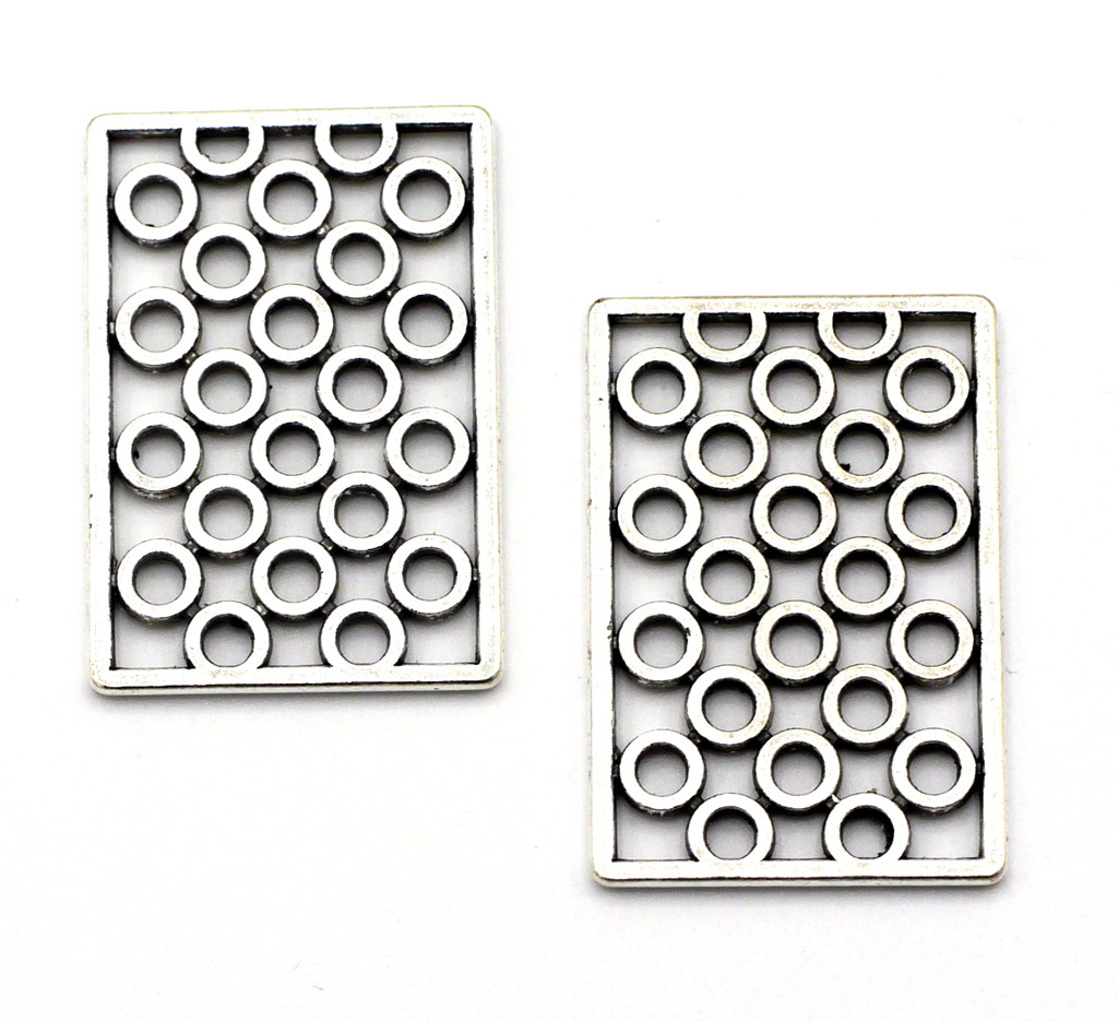 2pc 26x18mm Dotted Rectangle Pendants, Antique Silver Finish