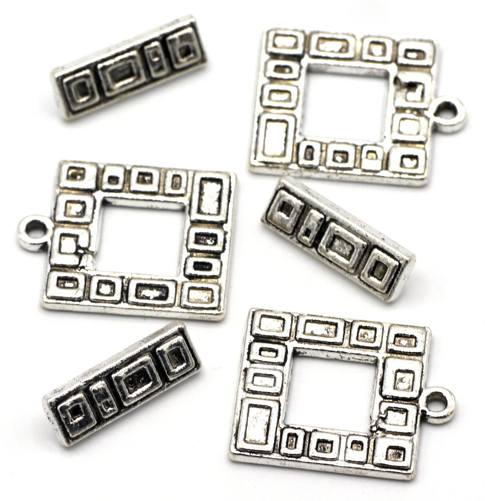 3 Sets 19x17mm Textured Square Toggle Clasps
