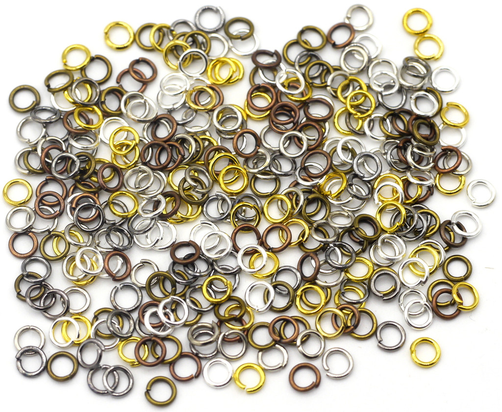 10 Grams 4mm Steel Jump Rings, 21-Gauge, Mixed Metal Finishes