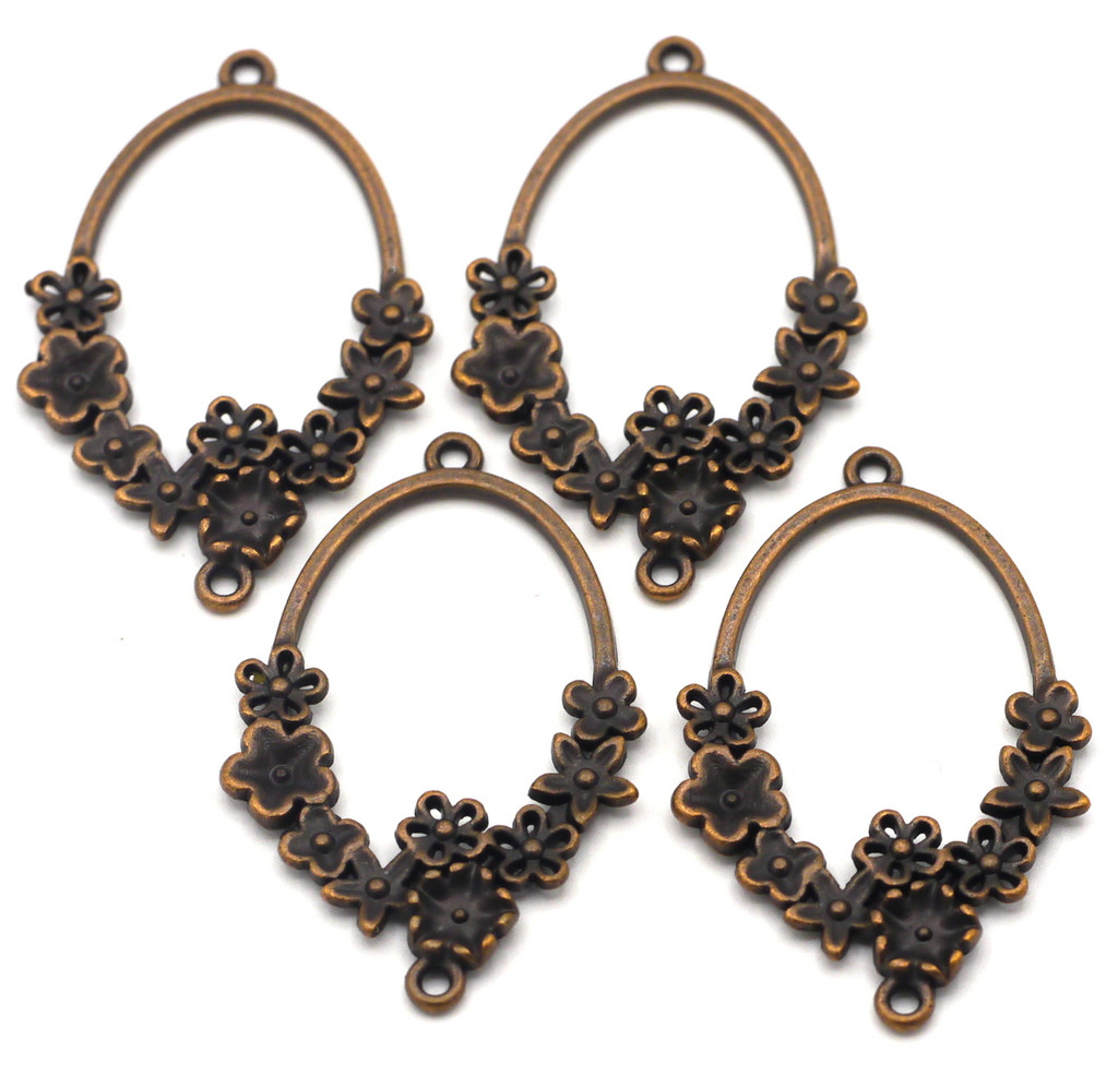 4pc 42x26mm Flowered Oval Links, Antique Copper