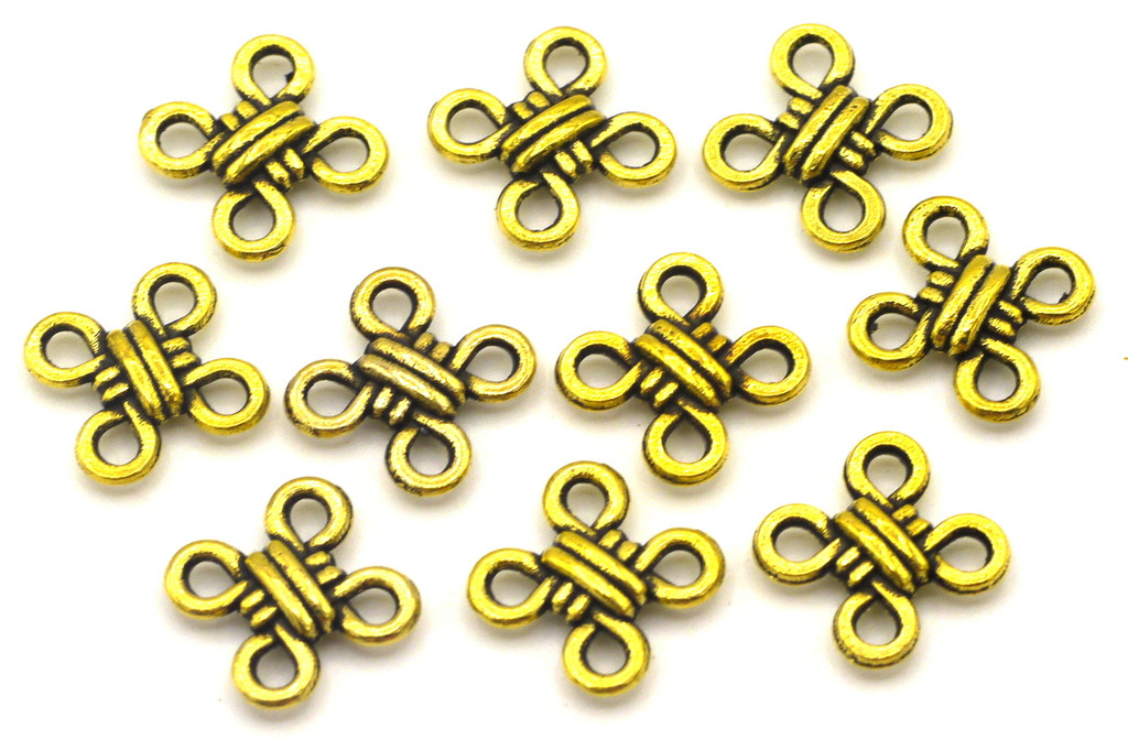 10pc 10mm Twisted Knot Links, Antique Gold