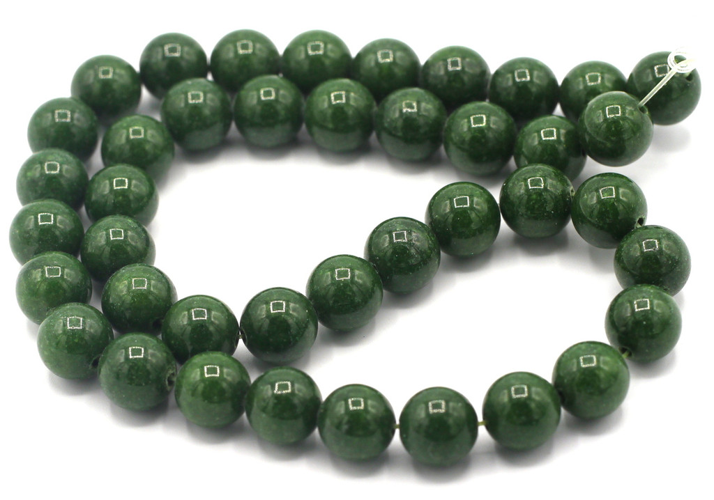 """15"""" Strand 10mm Dyed Mountain """"Jade"""" Beads, Evergreen"""