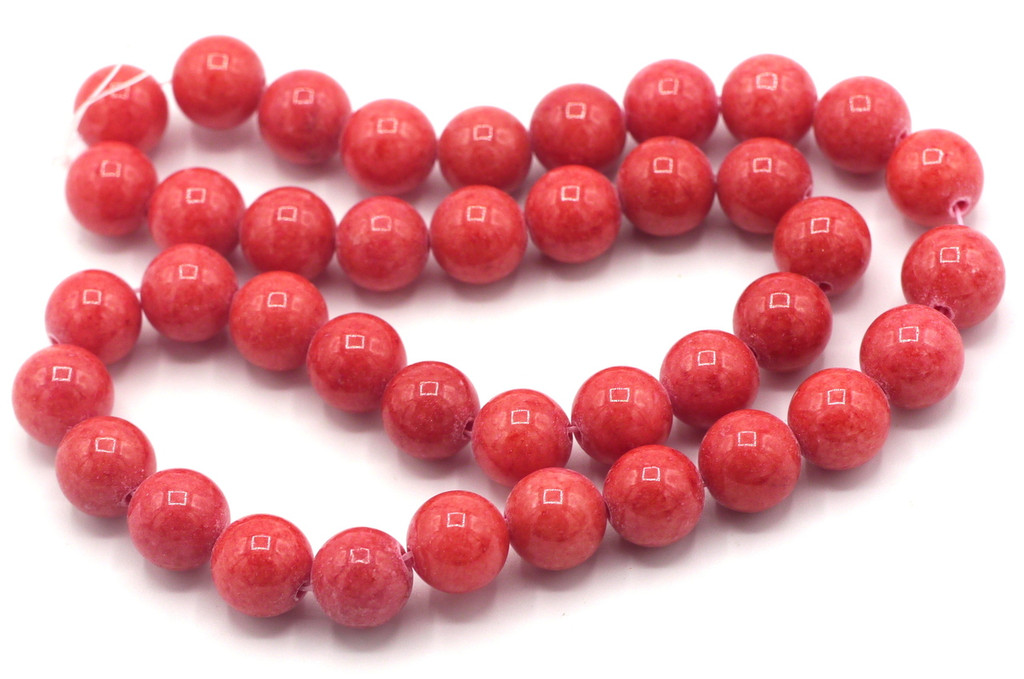 "15"" Strand 10mm Dyed Mountain ""Jade"" Beads, Strawberry"