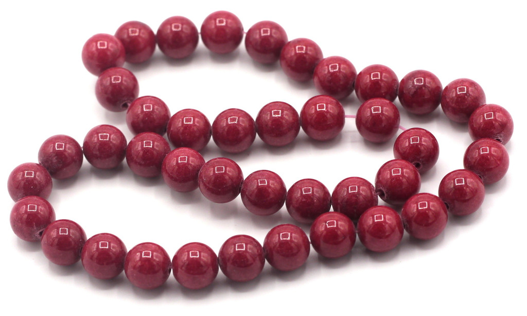 """15"""" Strand 10mm Dyed Mountain """"Jade"""" Beads, Deep Coral Red"""