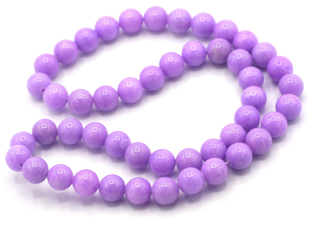 """15"""" Strand 8mm Dyed Mountain """"Jade"""" Beads, Lilac"""