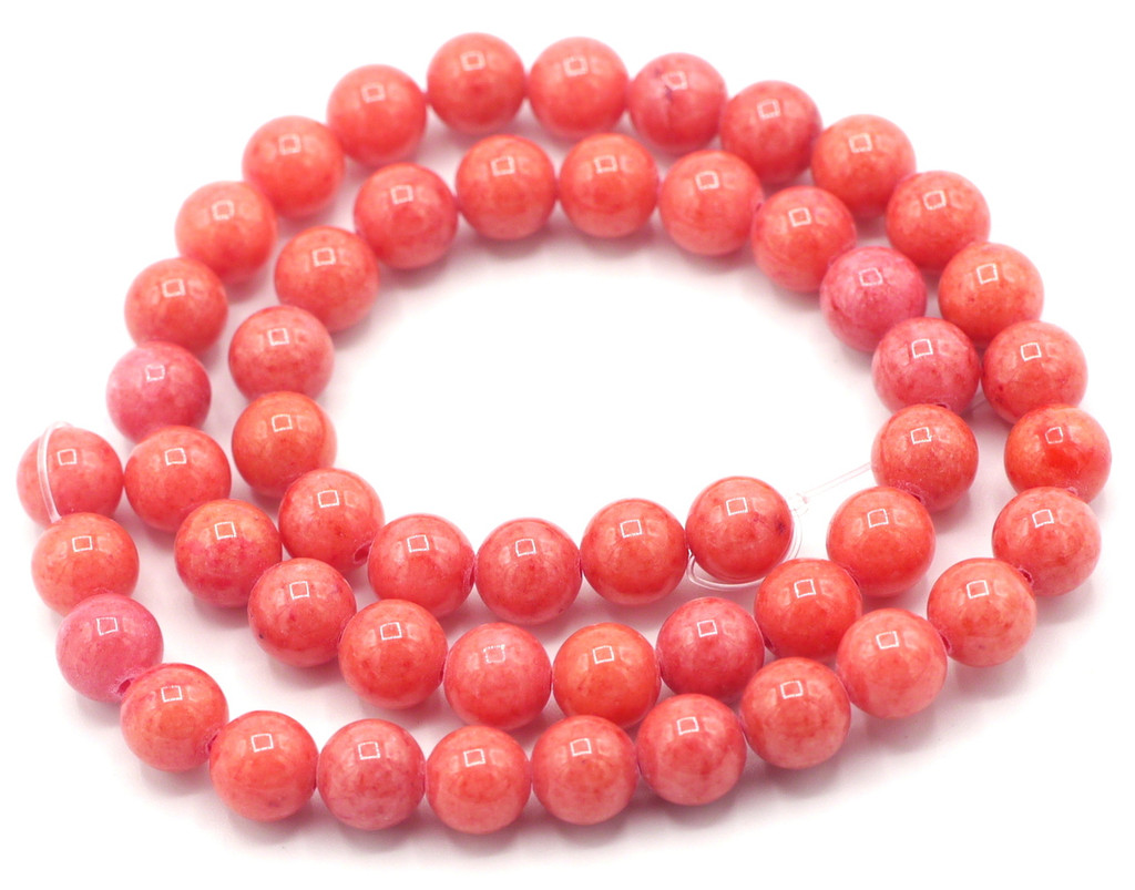 """15"""" Strand 8mm Dyed Mountain """"Jade"""" Beads, Strawberry"""