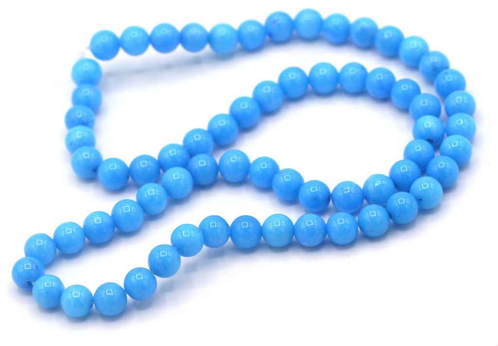 """15"""" Strand 6mm Dyed Mountain """"Jade"""" Beads, Cerulean"""