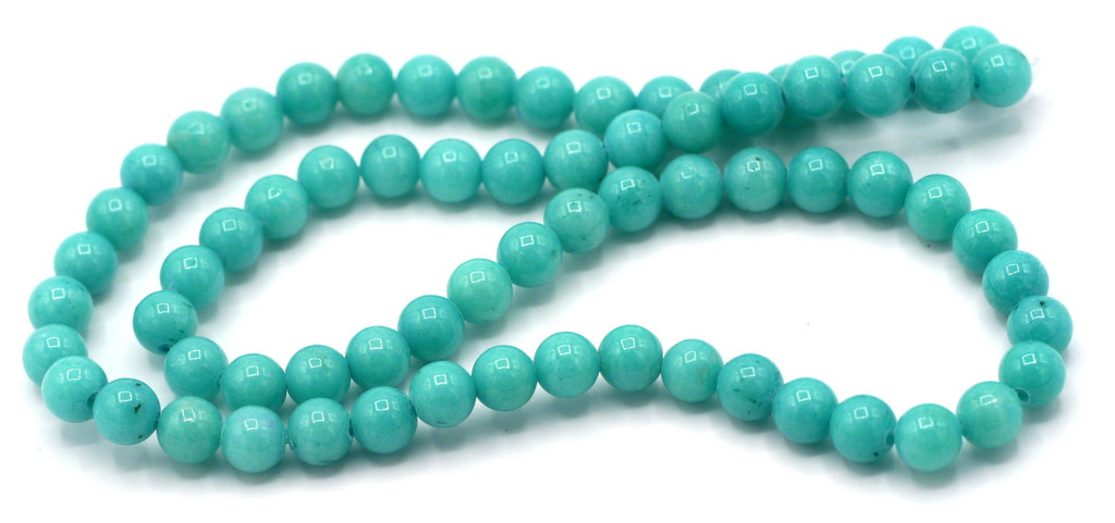 """15"""" Strand 6mm Dyed Mountain """"Jade"""" Beads, Turquoise Blue"""
