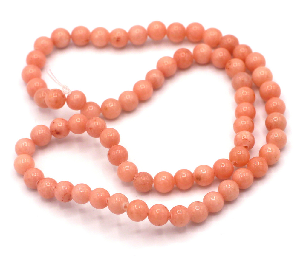"""15"""" Strand 6mm Dyed Mountain """"Jade"""" Beads, Coral Pink"""