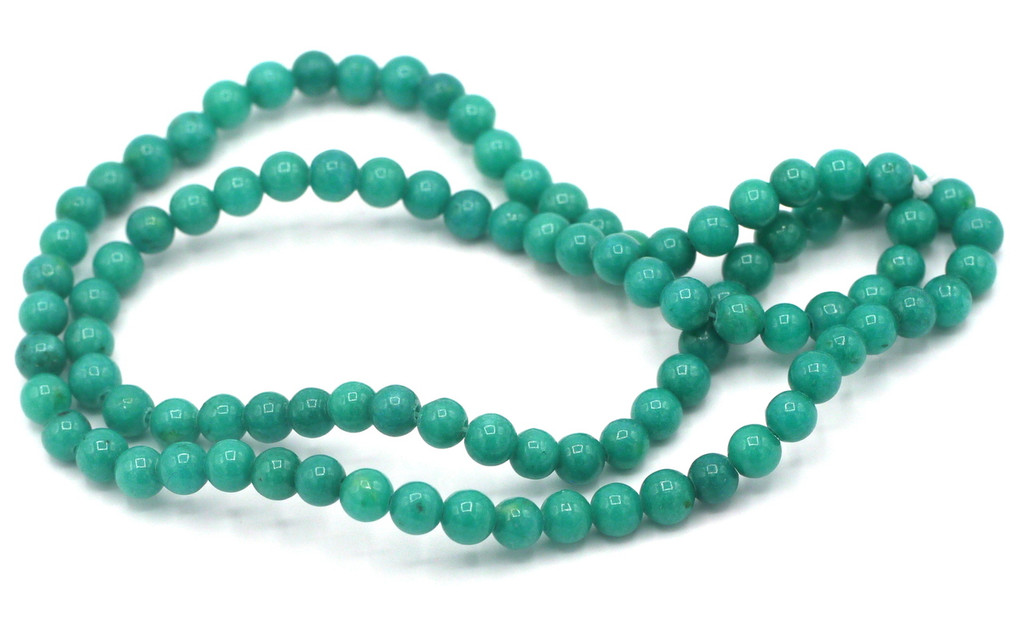 """15"""" Strand 4mm Dyed Mountain """"Jade"""" Beads, Teal Blue"""