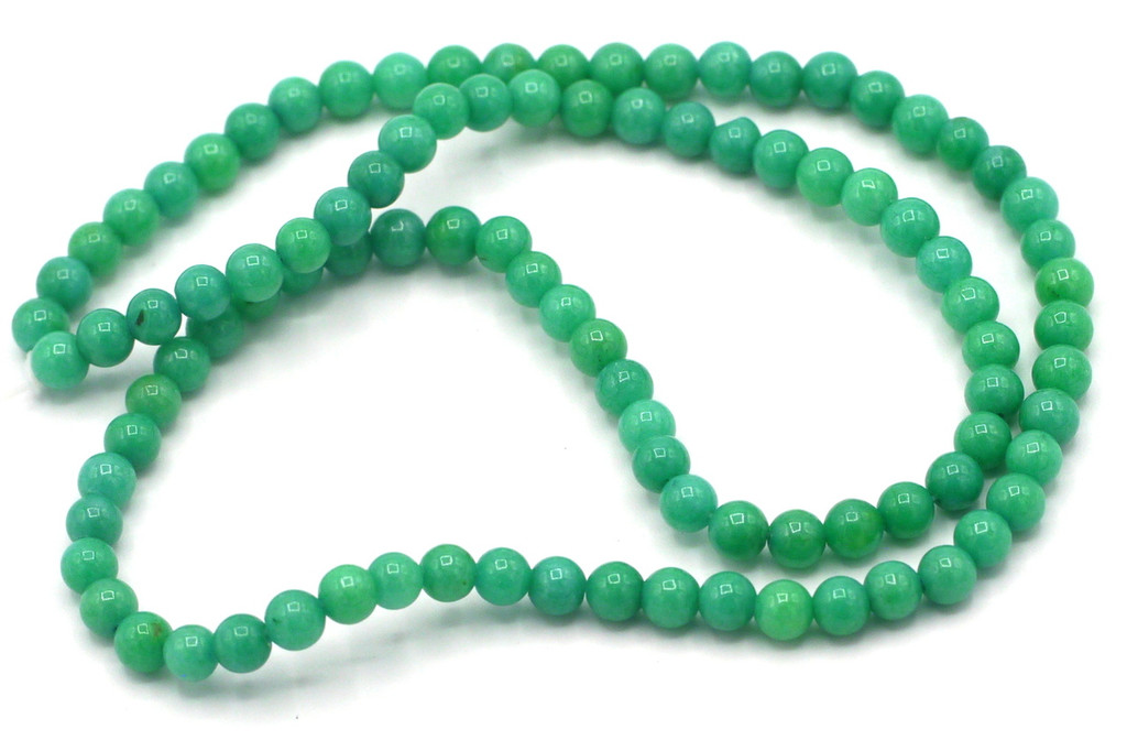 """15"""" Strand 4mm Dyed Mountain """"Jade"""" Beads, Turquoise Green"""