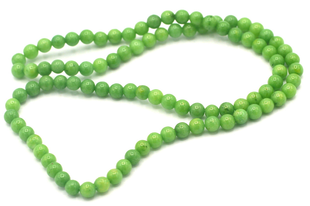 """15"""" Strand 4mm Dyed Mountain """"Jade"""" Beads, Lime"""