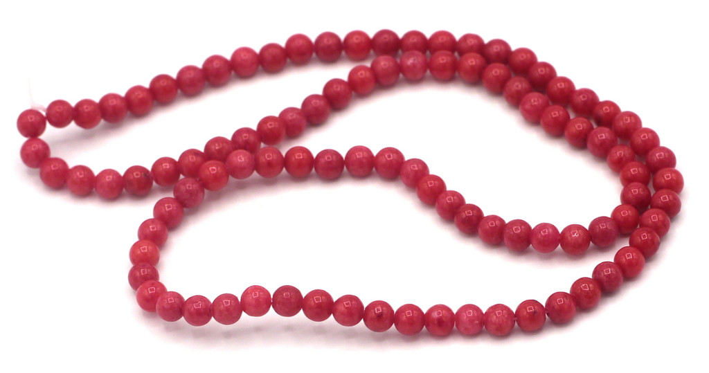"15"" Strand 4mm Dyed Mountain ""Jade"" Beads, Cherry"