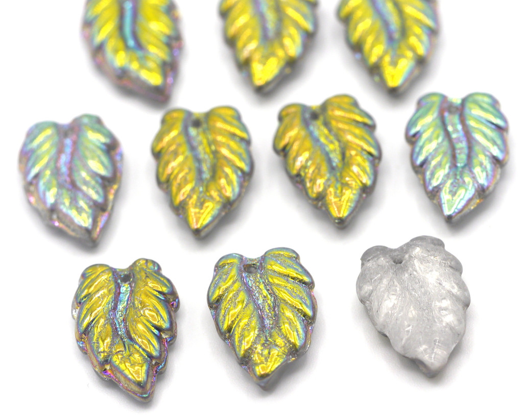 10pc 16mm Czech Glass Top-Drilled Leaf Beads, Marea Half-Coat