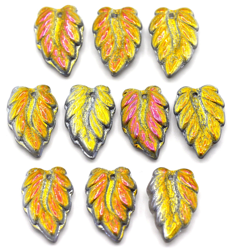 10pc 16mm Czech Glass Top-Drilled Leaf Beads, Vitrail Half-Coat