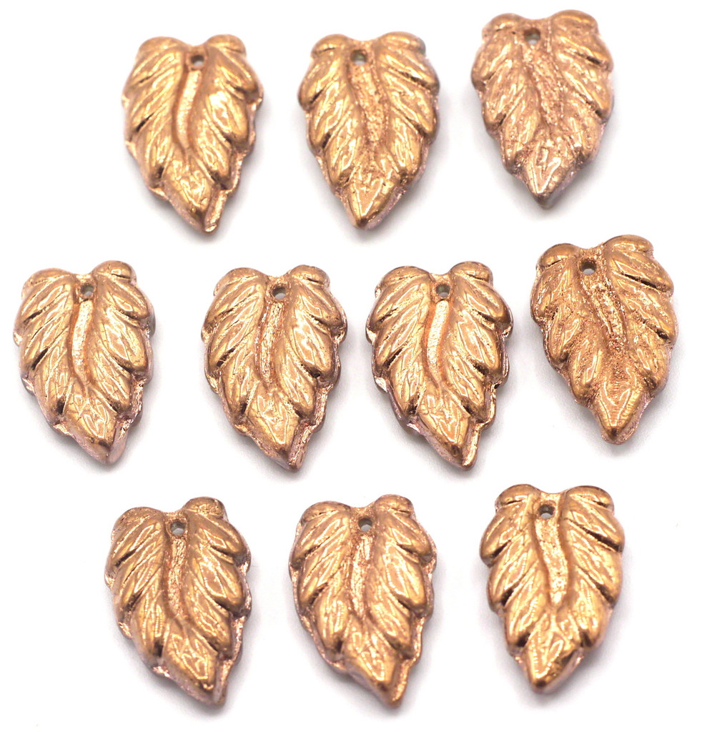 10pc 16mm Czech Glass Top-Drilled Leaf Beads, Copper Half-Coat