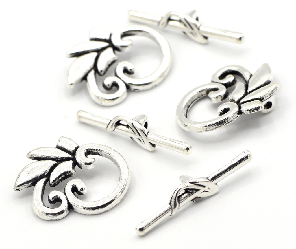 3 Sets 24x29mm Leaf Toggle Clasps, Antique Silver