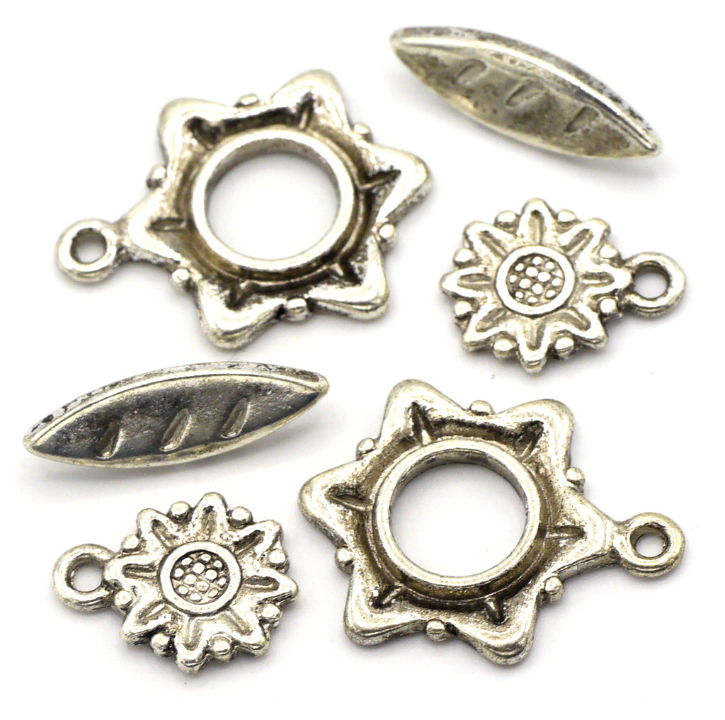 2 Sets 22x18mm Flower Toggle Clasp & 12mm Charm, Antique Silver