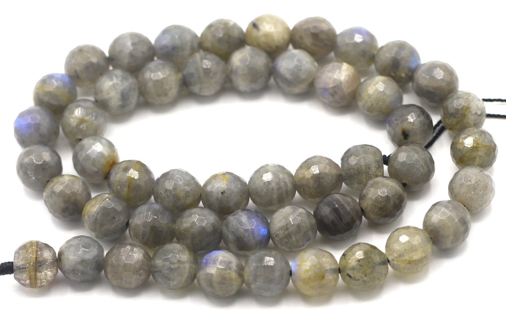 """15.5"""" Strand 8mm Labradorite Faceted Round Beads"""