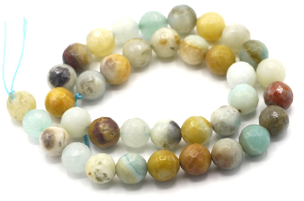 """15.5"""" Strand 10mm Amazonite Faceted Round Beads"""