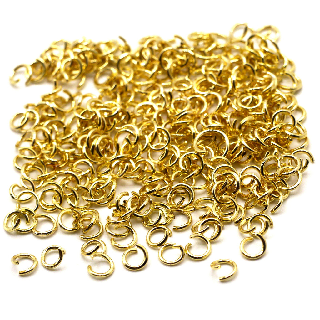 10-Gram Bag of 21 Gauge 4mm Open Jump Rings, Gold Finish