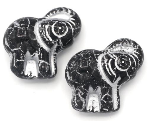 2pc 20mm Czech Pressed Glass Elephant Beads, Jet Black/Silver Wash