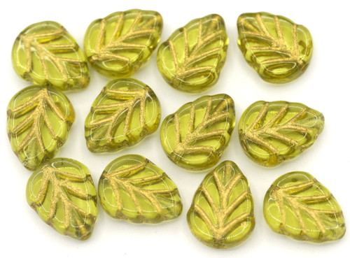 10pc 8x10mm Czech Pressed Glass Mint Leaf Beads, Transparent Olive/Gold Wash