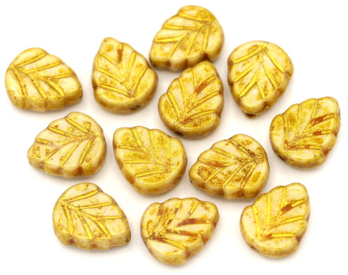 10pc 8x10mm Czech Pressed Glass Mint Leaf Beads, Alabaster/Picasso Gold