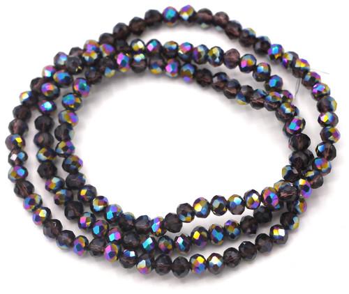 "Approx. 16"" Strand 4x3mm Crystal Rondelle Beads, Amethyst/Rainbow Iris"