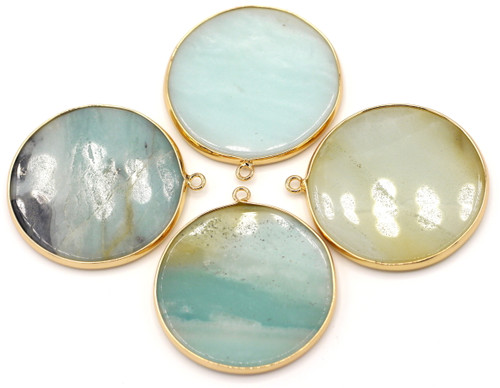 1pc Approx. 45x41mm Amazonite Flat Disc Pendant, Gold-Finished Brass Edging