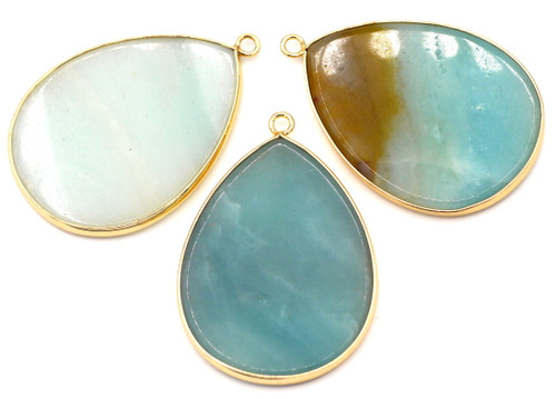 1pc Approx. 45x31mm Amazonite Flat Teardrop Pendant, Gold-Finished Brass Edging