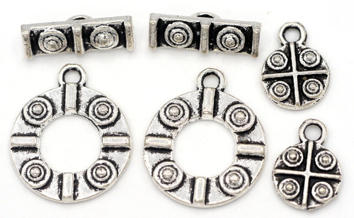 2 Sets 19x15mm Fancy Round Toggle Clasps w/12mm Charms