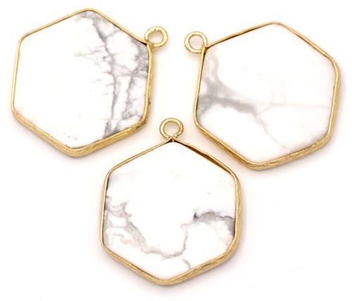 1pc Approx. 30mm White Howlite Hexagon Pendant, Gold Finish
