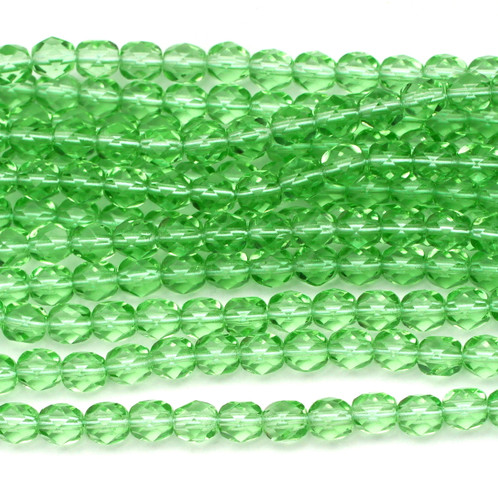 50pc 6mm Czech Fire Polished Round Beads, Peridot