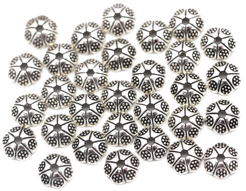30pc 6.5mm Floral-Pattern Scalloped Bead Cap, Antique Silver