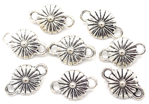 8pc 16x10mm Double-Sided Daisy Links, Antique Silver