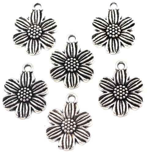 6pc 6-Petal Flower Charms, Antique Silver