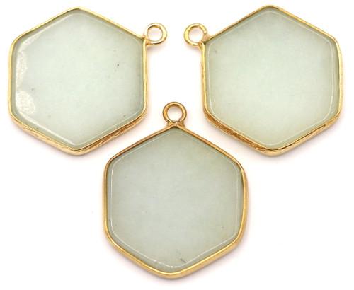 1pc Approx. 30mm Amazonite Hexagon Pendant w/Golden Brass Edging