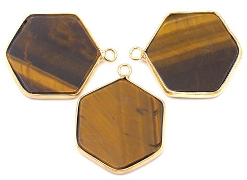 1pc Approx. 30mm Tigereye Hexagon Pendant w/Golden Brass Edging
