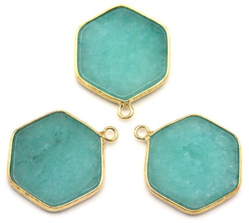 """1pc Approx. 30mm Aqua Mountain """"Jade"""" Hexagon Pendant w/Golden Brass Edging"""