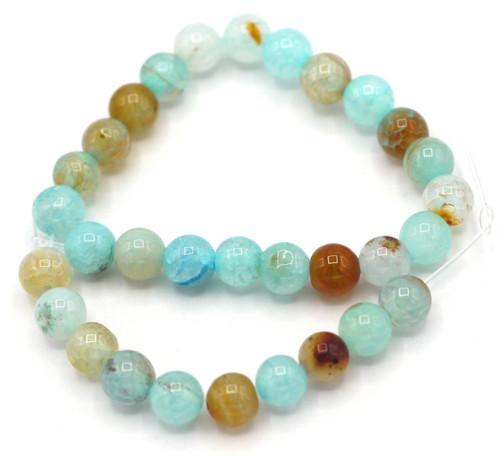 "7"" Strand 6mm Crackle Agate Round Beads, Light Aqua"