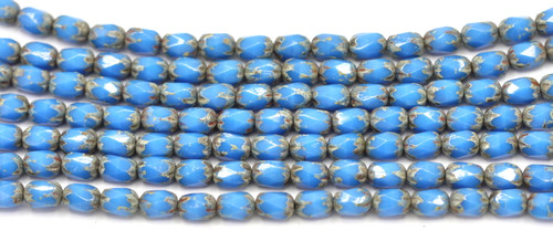 20pc Strand 4x6mm Czech Fire-Polished Glass Faceted Cathedral Cylinder Bead, Sky Blue/Stone