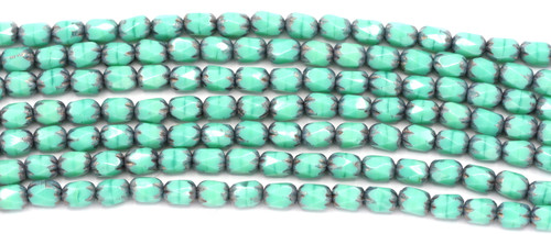 20pc Strand 4x6mm Czech Fire-Polished Glass Faceted Cathedral Cylinder Bead, Turquoise Luster