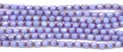 20pc Strand 4x6mm Czech Fire-Polished Glass Faceted Cathedral Cylinder Bead, Cornflower Blue Opal/Bronze
