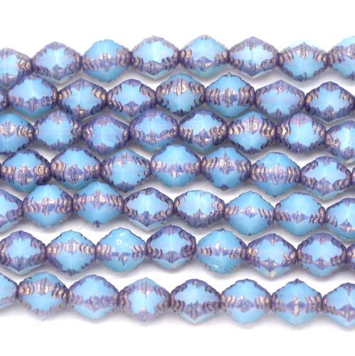 16pc 8x6mm Czech Fire-Polished Antik Bicone Beads, Blue Opal/Bronze
