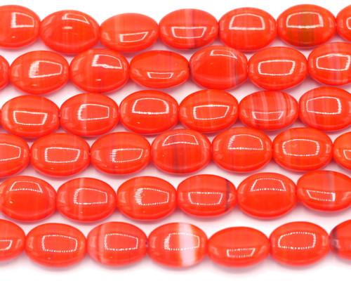 10pc Strand 12x9mm Czech Pressed Glass Oval Beads, Red Swirl